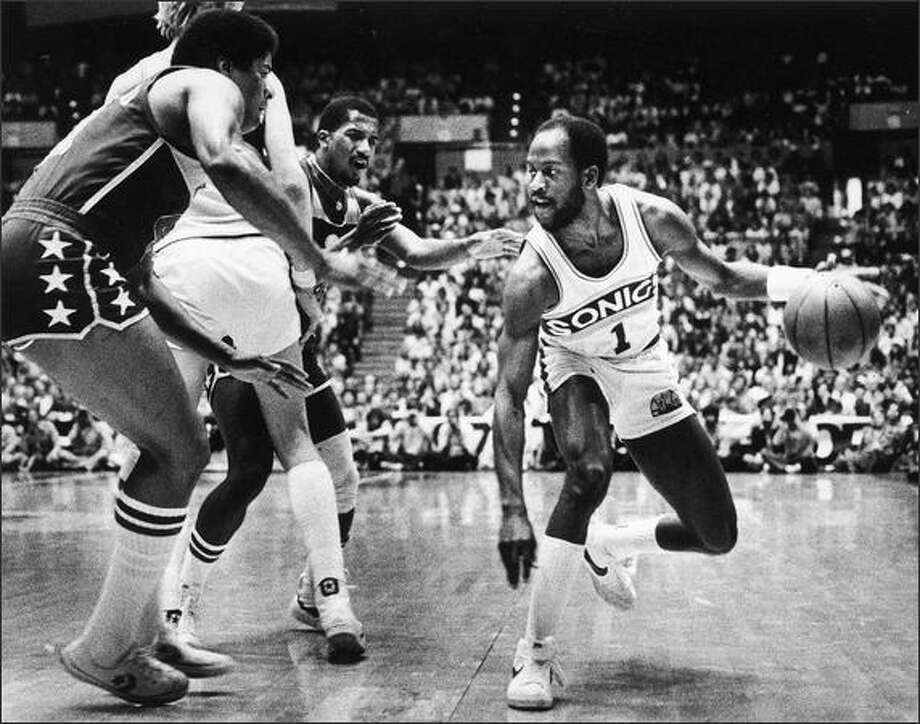 Sonics guard Gus Williams (1) in 1979. Photo: Seattlepi.com