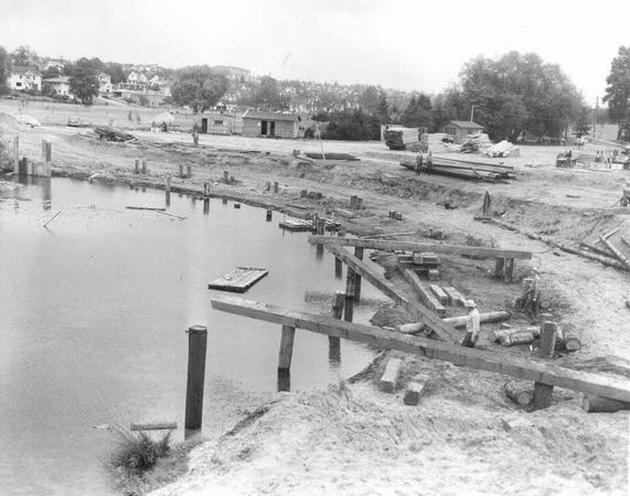 Construction of the Green Lake Aqua Theater, June 12, 1950. Photo: P-I File