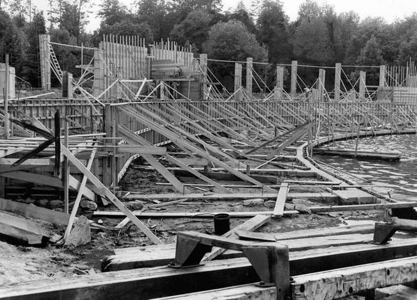 Construction of the Green Lake Aqua Theater in June 1950. It was rushed to finish in mid-August and