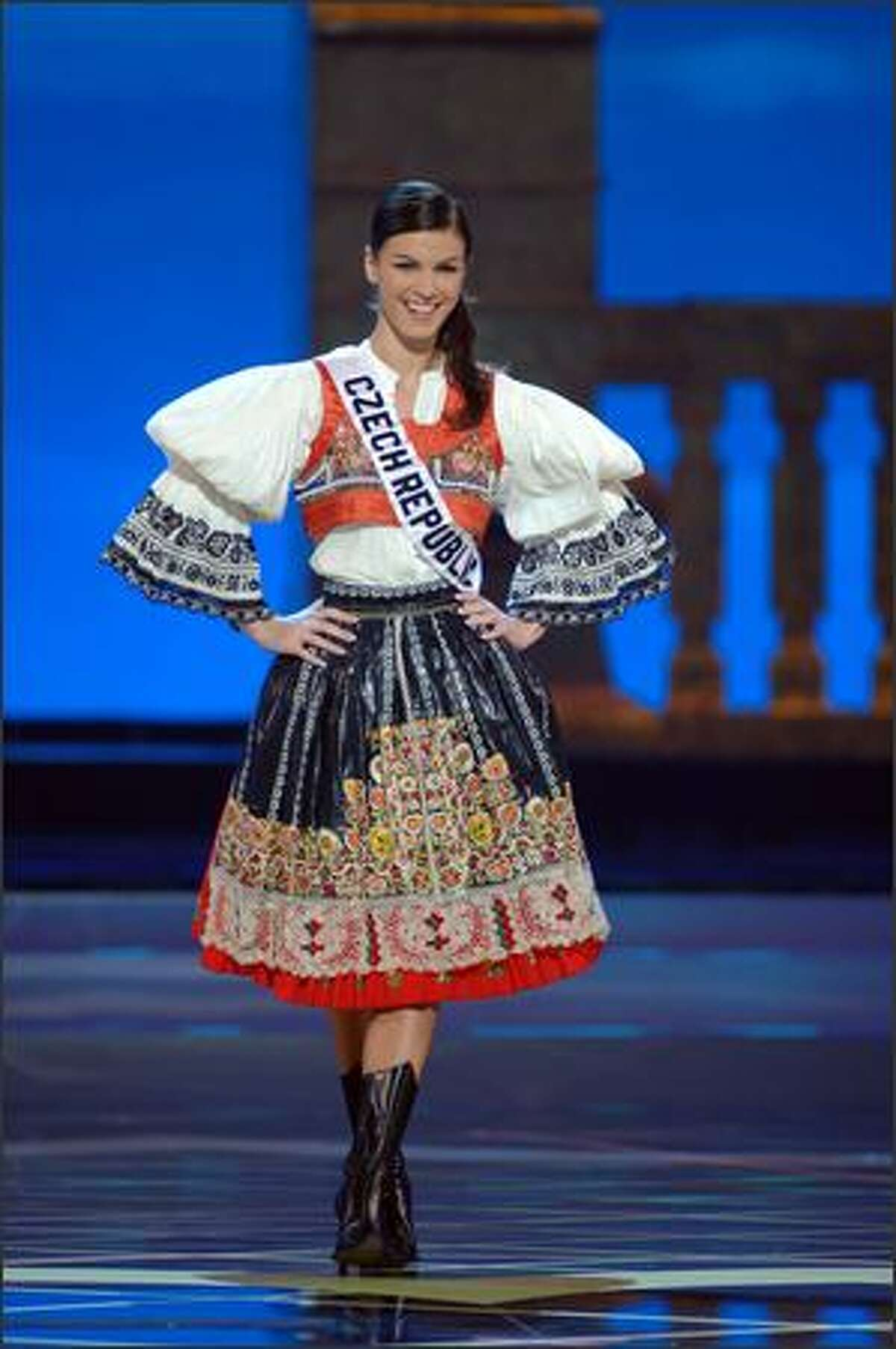 Katerina Smejkalova, Miss Czech Republic. Her costume was voted first runner-up; Miss Thailand was the winner, with Miss Mexico the second runner-up.