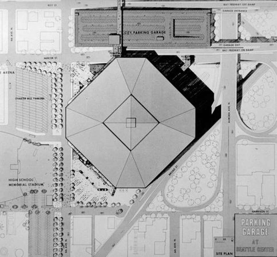 The December 1969 photo caption read: Overhead View of octagonal domed-stadium model. Proposed parking garage on north side of Mercer Street east of Fifth Avenue is at top of picture. Charter bus parking on southwest corner of 5th and Mercer is shown at top right. Photo: P-I File