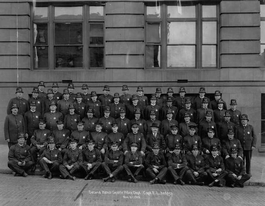 Second Patrol Seattle Police Department. Captain E.L. Hedges. November 11, 1919. Photo: P-I File
