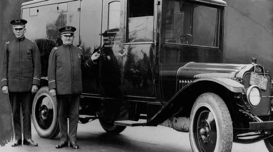 Seattle Police Department. Armored payroll car. August 3, 1926 Photo: P-I File