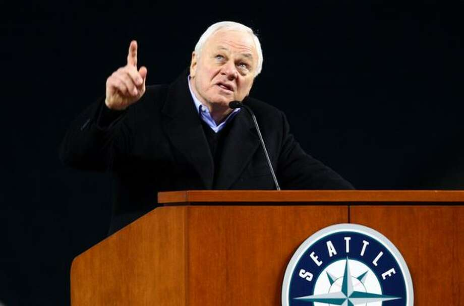 Mariners President Chuck Armstrong points skyward during a celebration of life ceremony for Seattle Mariners broadcaster Dave Niehaus. Photo: Joshua Trujillo, Seattlepi.com