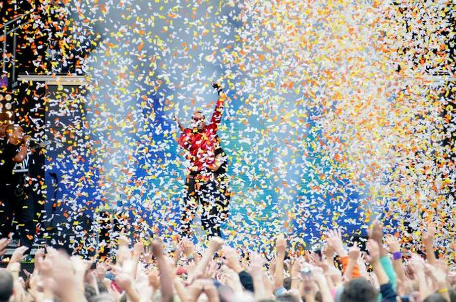 Confetti is released during a performance by The Black Eyed Peas. Photo: Daniel Berman, Seattlepi.com