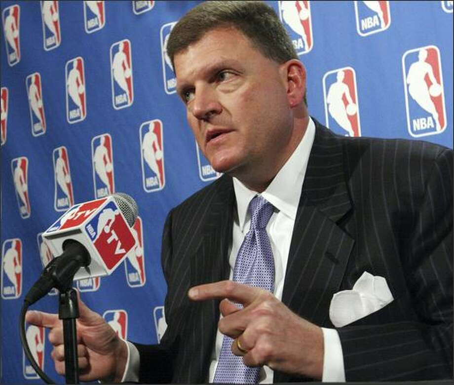 Seattle SuperSonics owner Clay Bennett speaks during a news conference Friday, in New York. NBA owners approved the SuperSonics' move to Oklahoma City for the 2008-09 season Friday, provided the team can settle its lawsuit with the city. Photo: Associated Press