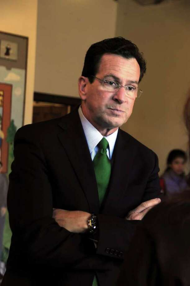 Gov. Dannel P. Malloy listens to questions before speaking to a group of students and teachers at Eagle Hill School in Greenwich, on Tuesday, March 29, 2011. Photo: Helen Neafsey / Greenwich Time