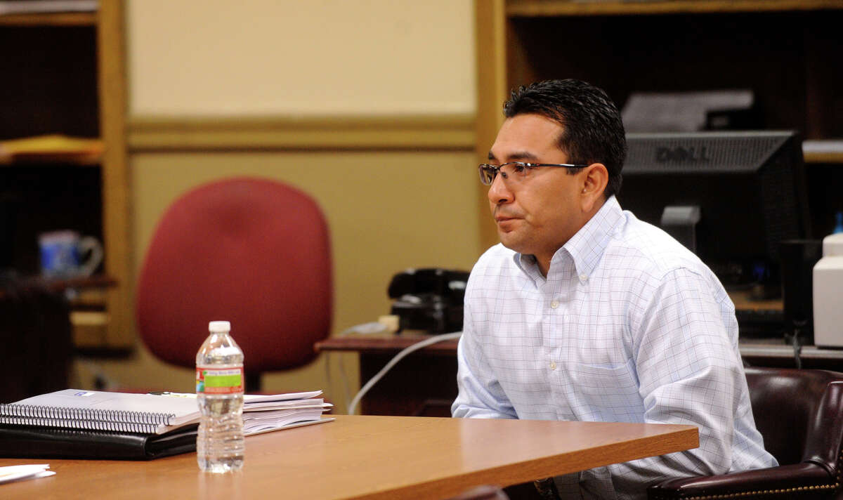 Former San Antonio Police Officer Winder Morales waits for the start of his DWI trial on March 29. He was involved in a crash with an unmarked SAPD car.