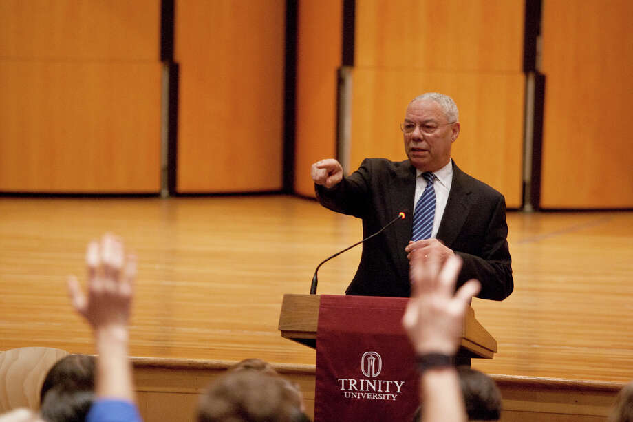 Colin Powell takes questions from students during his visit to Trinity University. His public talk later touched on subjects including education and U.S. military intervention in Libya. Photo: Courtesy Of David Smith Photography