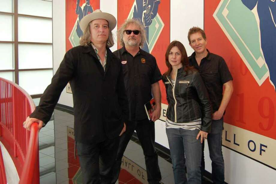 image of the Baseball Project, from left Peter Buck, Scott McCaughey, Linda Pitmon and Steve Wynn credit: Michael E. Anderson / DirectToArchive