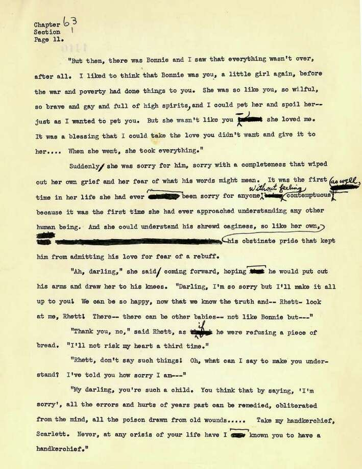 """A page the last four chapters of the final typescript of the novel, """"Gone With the Wind"""" by Margaret Mitchell. The last four chapters of the final typescript of the novel, """"Gone With the Wind"""" will be exhibited at the library starting Saturday to celebrate the 75th anniversary of the iconic account of the American South during the Civil War era. Photo: Contributed Photo / Connecticut Post Contributed"""