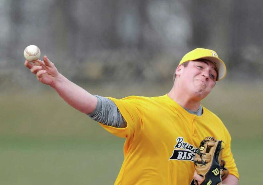 Brunswick School pitcher William Preziozi throws during game against Hopkins, at Brunswick School, Wednesday afternoon, March 30, 2011. Photo: Bob Luckey / Greenwich Time