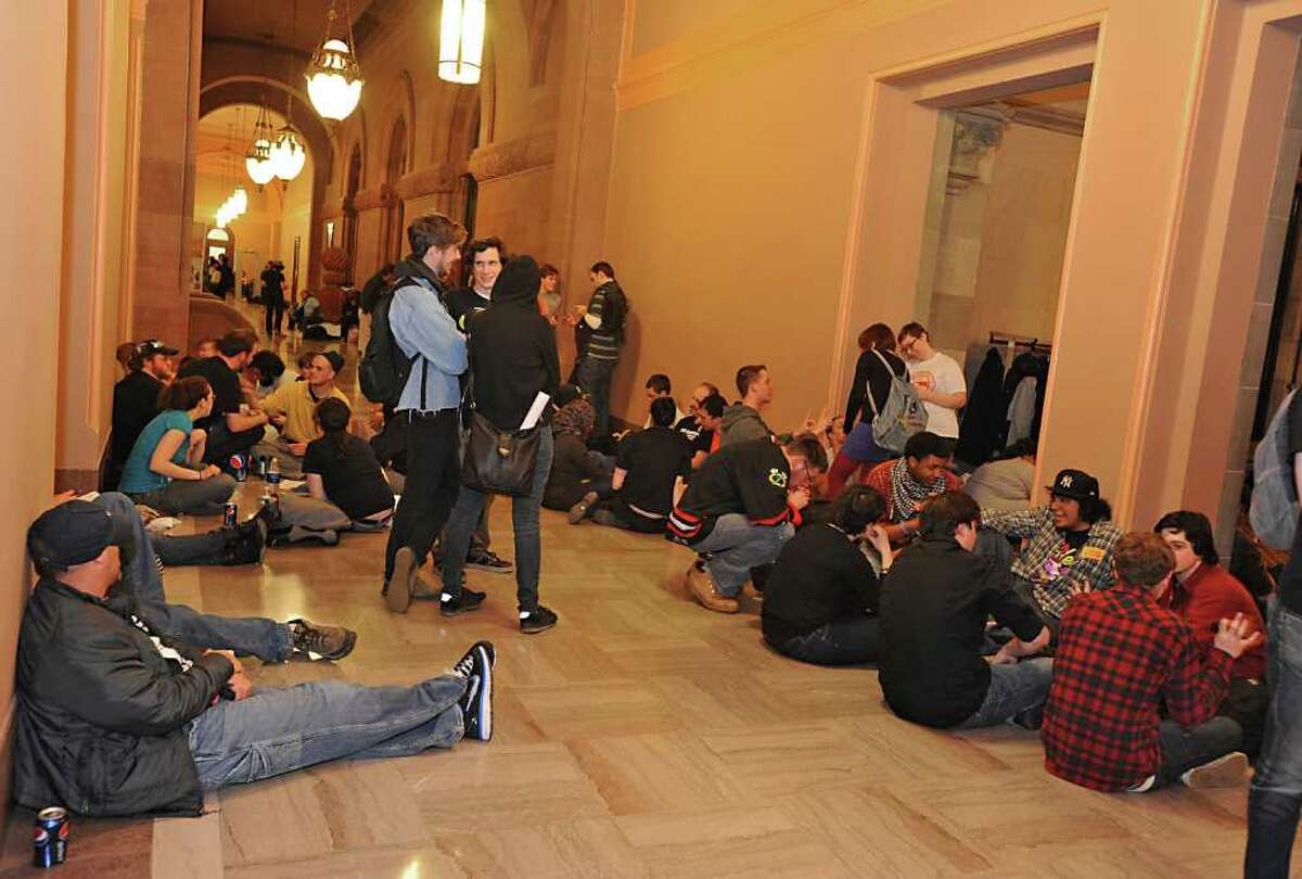 Education advocates hold a mass sit-in at the Capitol to protest proposed budget cuts to state education in Albany, NY on Wednesday, March 30, 2011. (Lori Van Buren / Times Union)