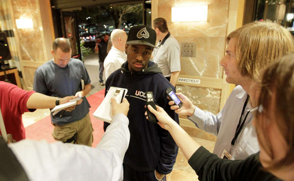 Connecticut guard Kemba Walker speaks to the media in the lobby of the hotel in Houston for the Final Four.