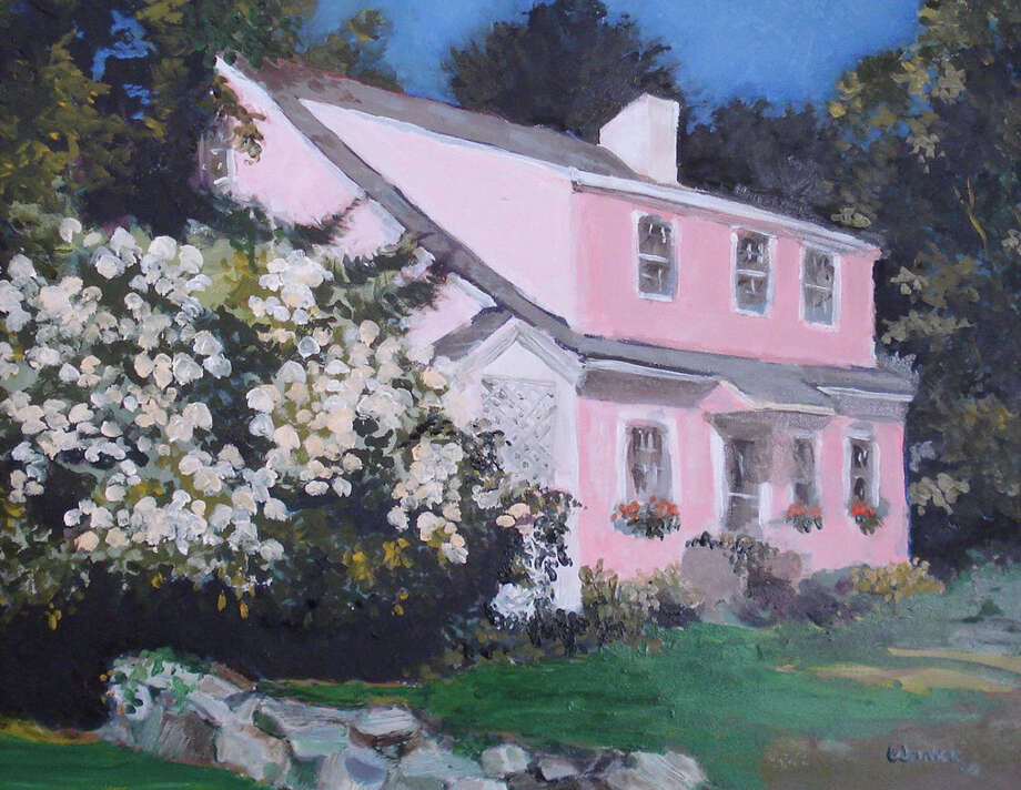 A painting of the pink house owned by Arlene Skutch, who has led an artists' group -- calling themselves the Pink House Painters -- and whose work will be featured from April 22 to May 7 at the Fairfield Arts Center. Photo: Contributed Photo / Fairfield Citizen contributed