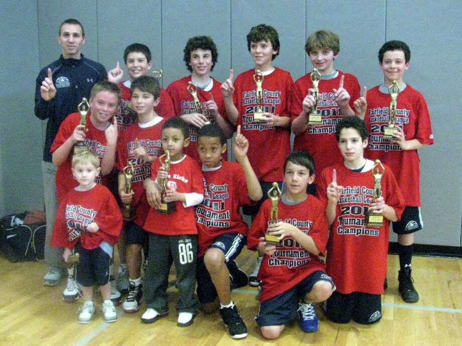 The Westport YMCA sixth grade boys travel basketball team won the Fairfield County Basketball League B Bracket Championship March 12 with a 40-36 win over Stamford. Team members, front row, from left, are, AJ Trimboli (coach's son), Gary Avery with his younger brother, Noah Avery, Max Fiore and Louis Colosimo; middle, Cayne Mandell and Noah Lomnitz; back, Coach TJ Trimboli, Adam Feuer, Jesse Levinson, Thomas Tamiolakis, Colin Hunter and Josh Berman. Photo: Contributed Photo
