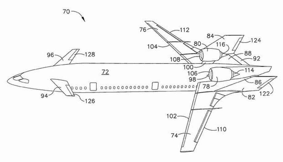 An image from a Boeing patent on aircraft designs that could reduce noise that reaches the ground. Photo: The Boeing Company / The Boeing Company