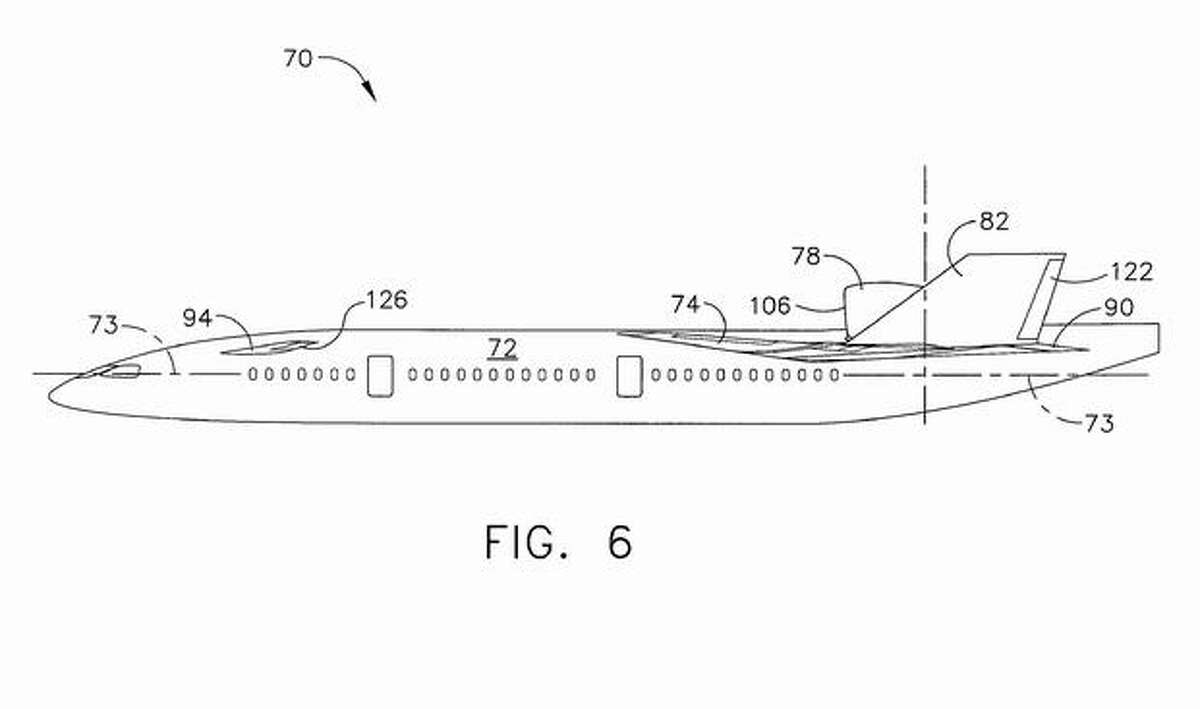 An image from a Boeing patent on aircraft designs that could reduce noise that reaches the ground.