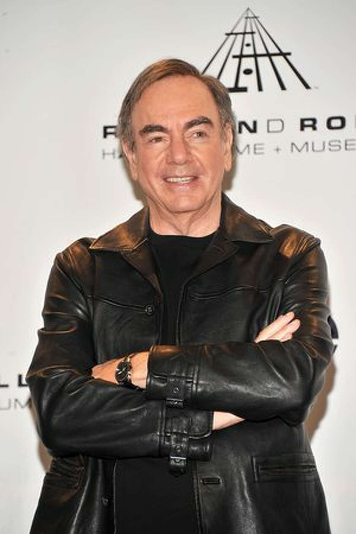 Inductee Neil Diamond poses in the press room.
