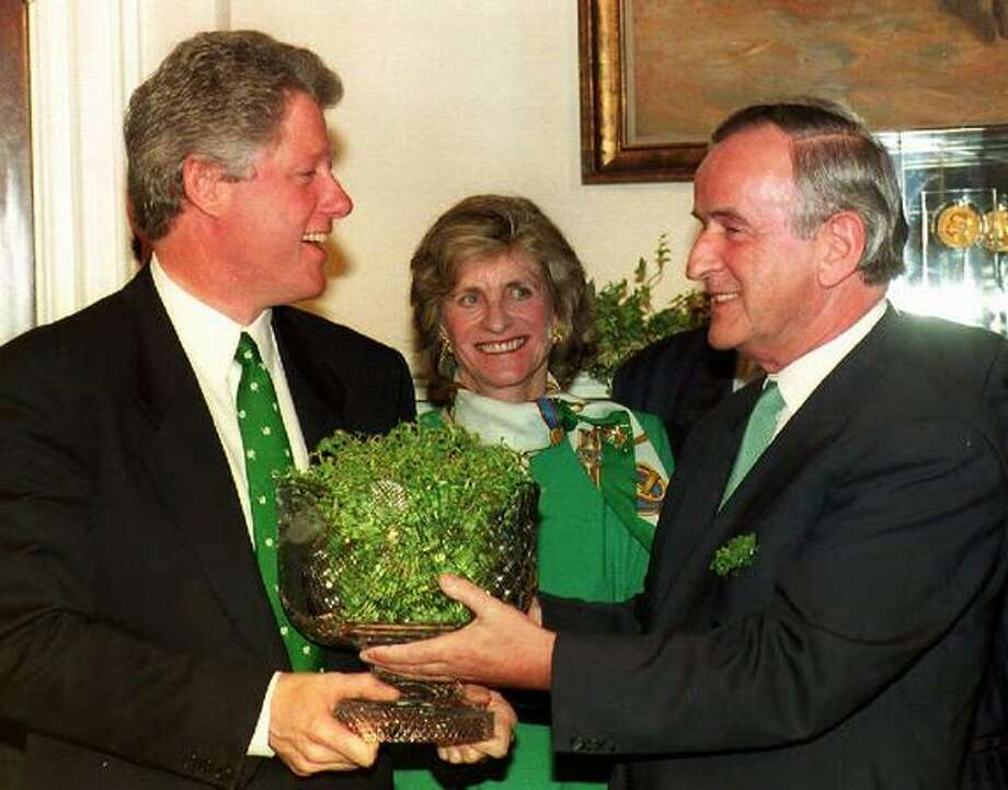 Each year, the prime minister of Ireland personally delivers a bowl of shamrocks to the U.S. president on or around St. Patrick's day. Here are pictures of several different prime ministers presenting shamrocks to Presidents Bill Clinton, George W. Bush and Barack Obama over the past 19 years, starting with Prime Minister Albert Reynolds (right) and President Clinton on March 17, 1993 in the White House, in Washington, D.C. Photo: Getty Images / Getty Images