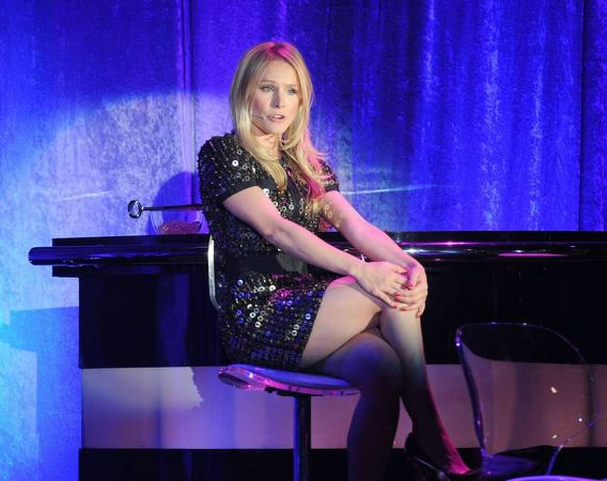 """Actress Kristen Bell performs onstage during the 19th annual """"A Night At Sardi's"""" fundraiser and awards dinner benefitting the Alzheimer's Association at the Beverly Hilton Hotel on Thursday in Beverly Hills, California."""