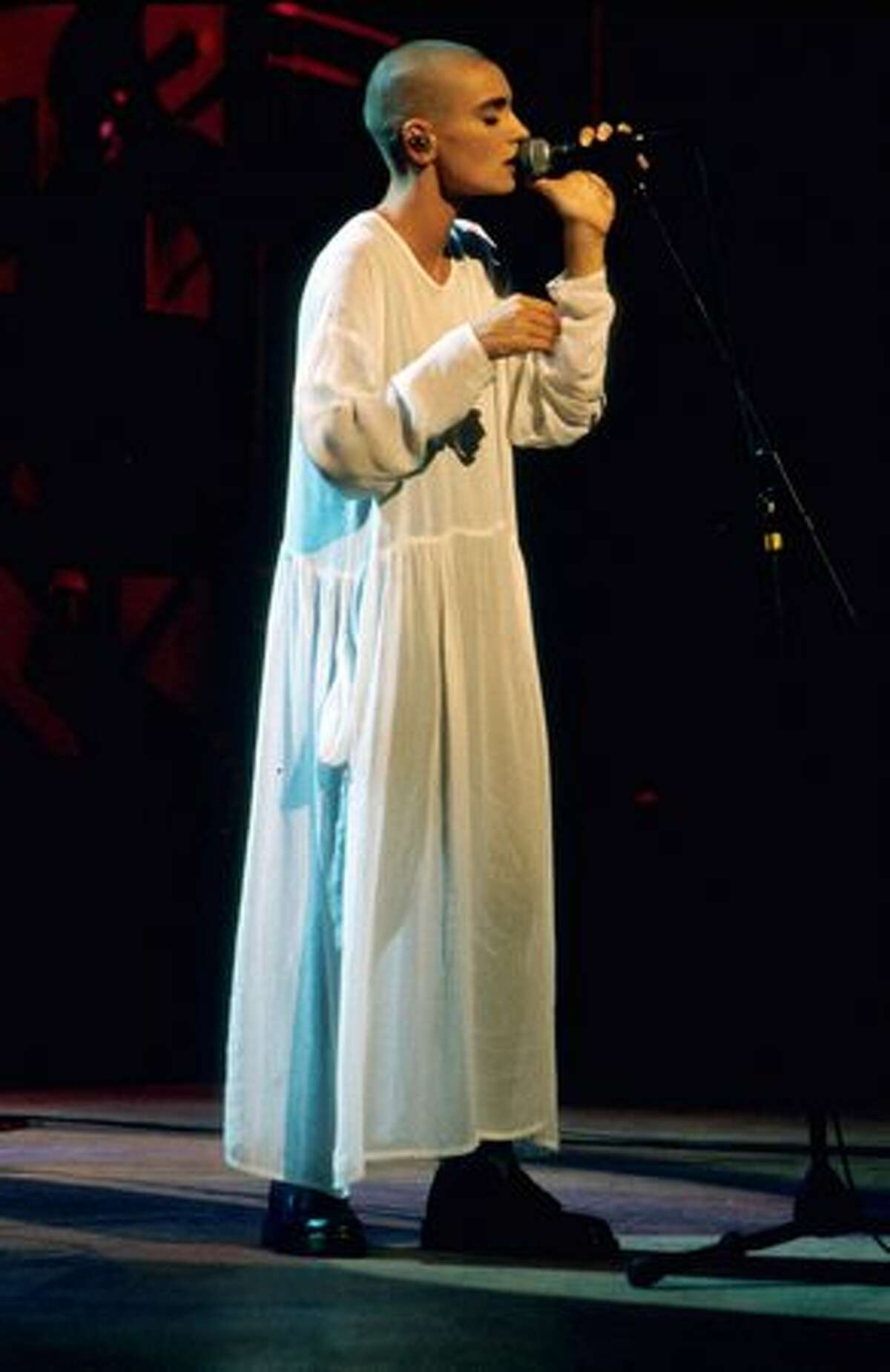 Sinead O'Connor performing at the 1990 MTV Music Video Awards, held at Universal Amphitheatre, Los Angeles, on Sept. 6, 1990. (Photo by Frank Micelotta/ImageDirect)