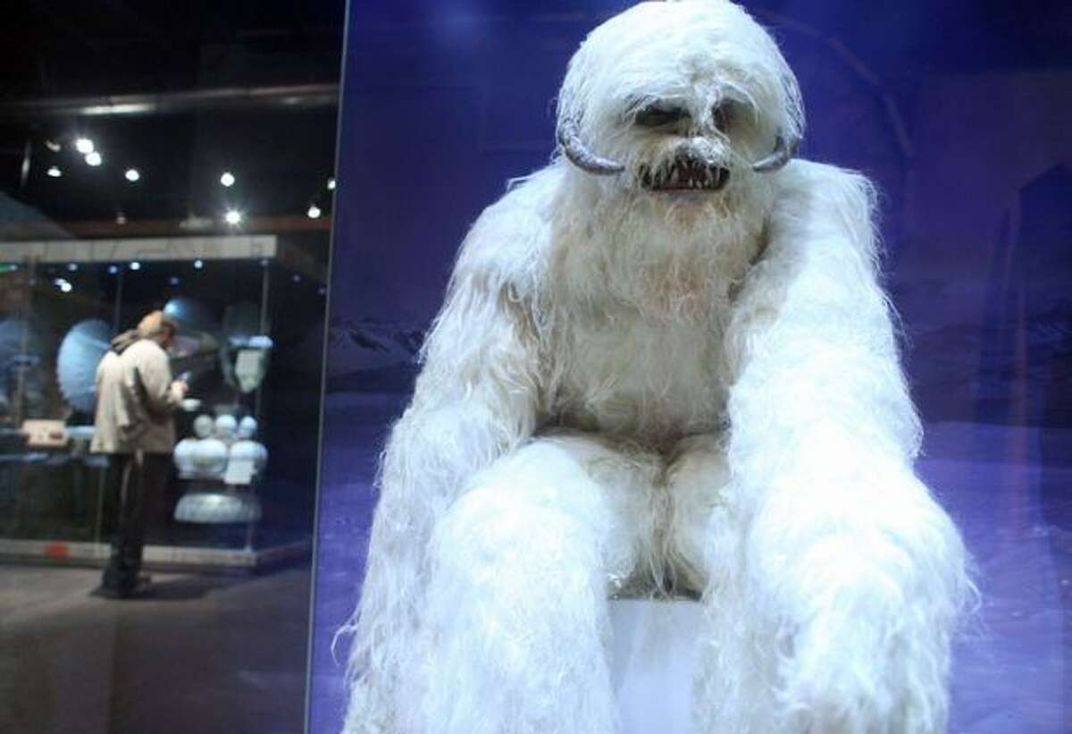 A Wampa costume from the Empire Strikes Back is shown during a preview of the exhibit