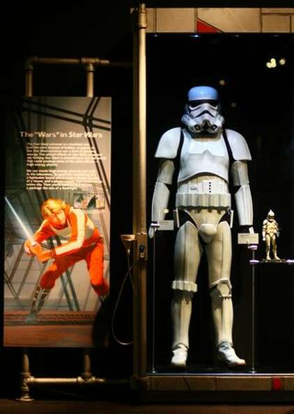 A Storm Trooper is shown during a preview of the exhibit