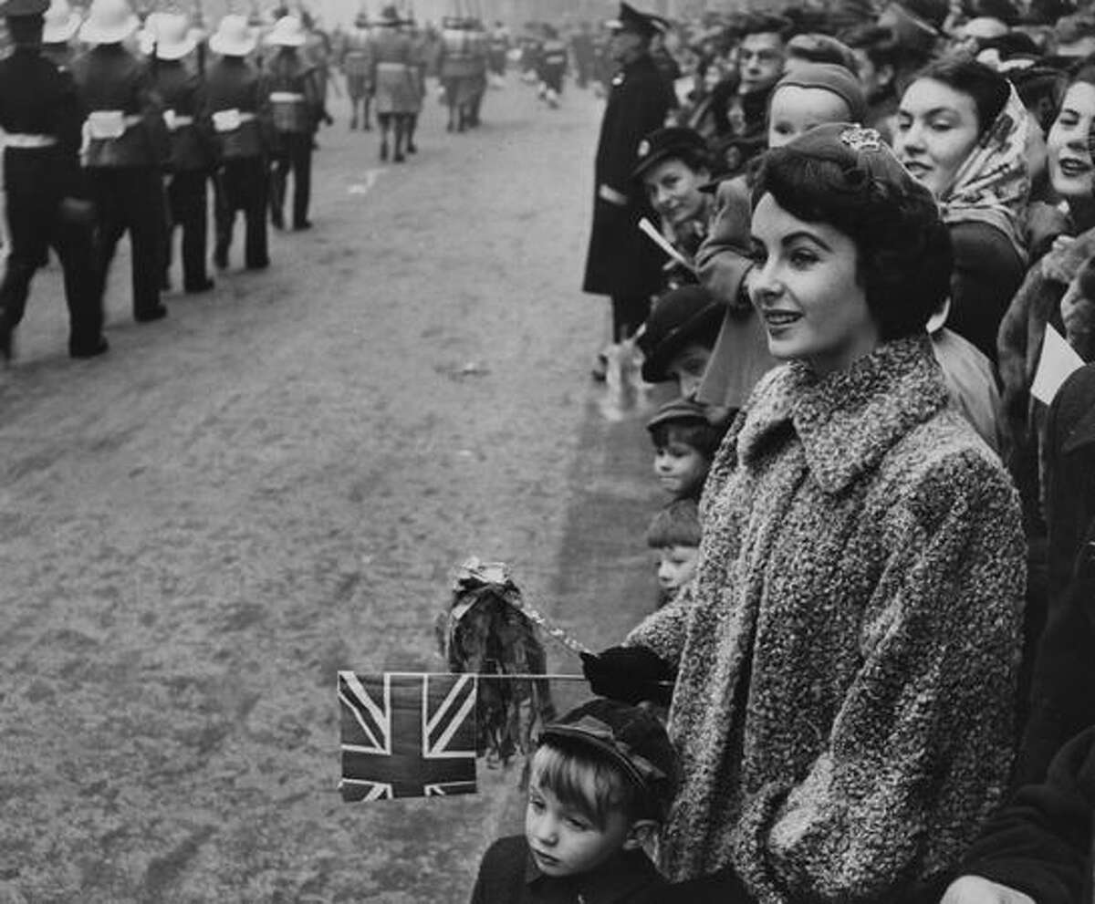 American actress Elizabeth Taylor watching the Lord Mayor's Show in London.