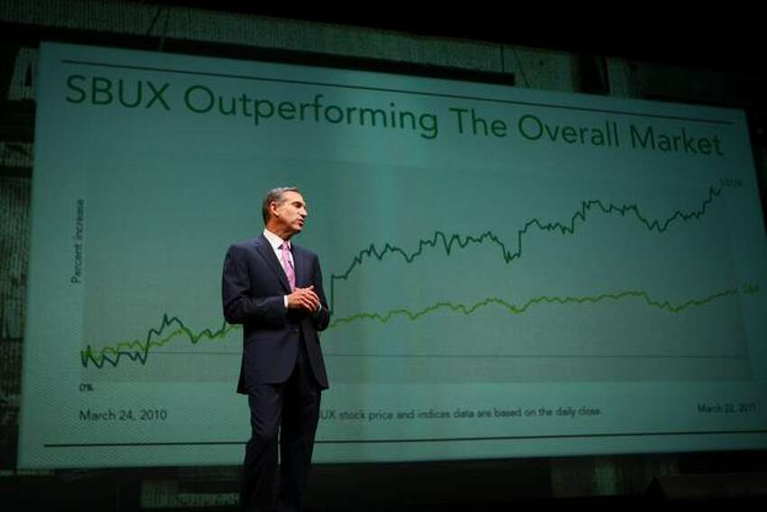 Howard Schultz, chairman, president and chief executive of Starbucks, explains the company's record profitability during the annual Starbucks shareholders meeting on Wednesday.