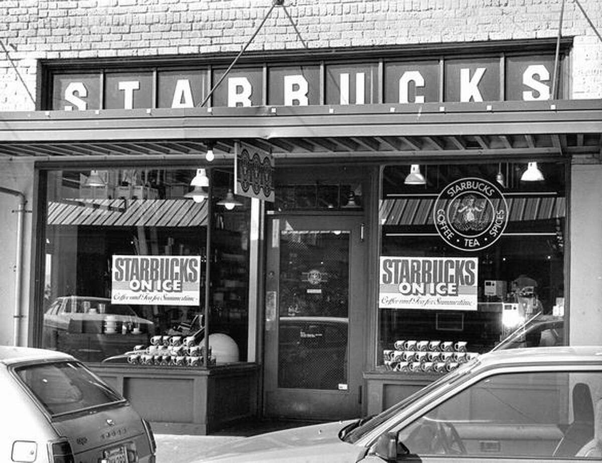 Starbucks Coffee Pike Place store shown in June 1987. Photo by John Herndon, Seattle P-I