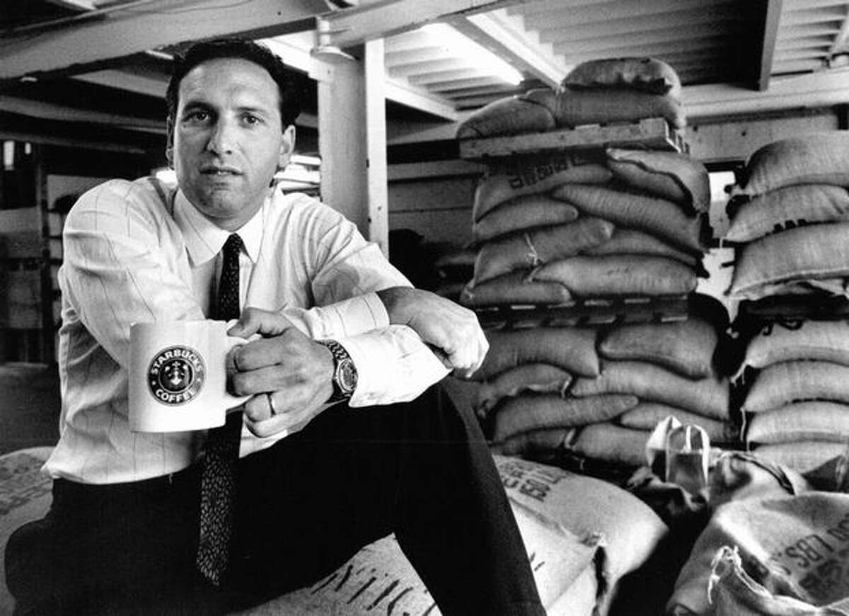 Howard Schultz, the president of Starbucks Coffee Co., says high quality has gained loyal customer base. July 1988 photo by Gilbert Arias, Seattle P-I