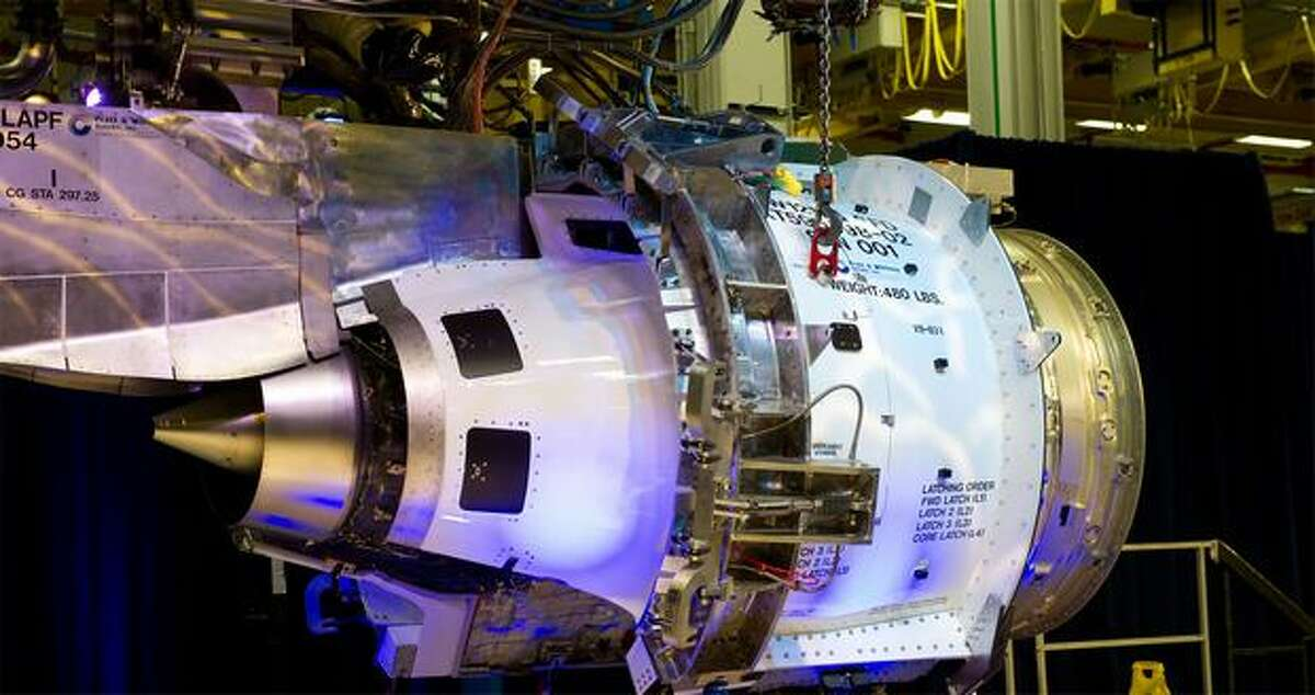 Pratt & Whitney's first PurePower PW1217G engine to test for the Mitsubishi Regional Jet, pictured during a last-bolt ceremony at Pratt's engine center in Middletown, Conn.
