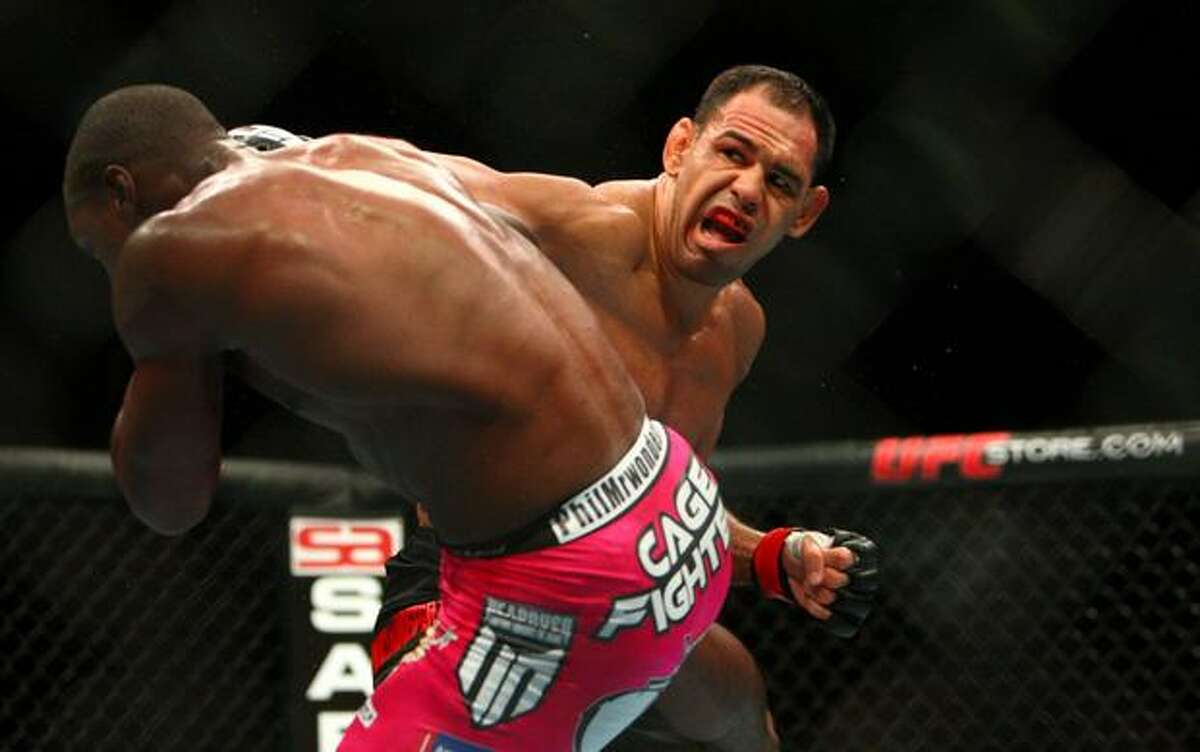 Rogerio Nogueira swings at his light heavyweight opponent Phil Davis during UFC Fight Night Live at KeyArena in Seattle. Nogueira was defeated by Davis in three rounds.