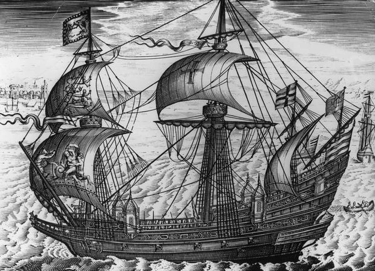 The first HMS Ark Royal, a galleon that took on the Spanish Armada, is shown in this picture, circa 1575. (Rischgitz/Getty Images) Related story