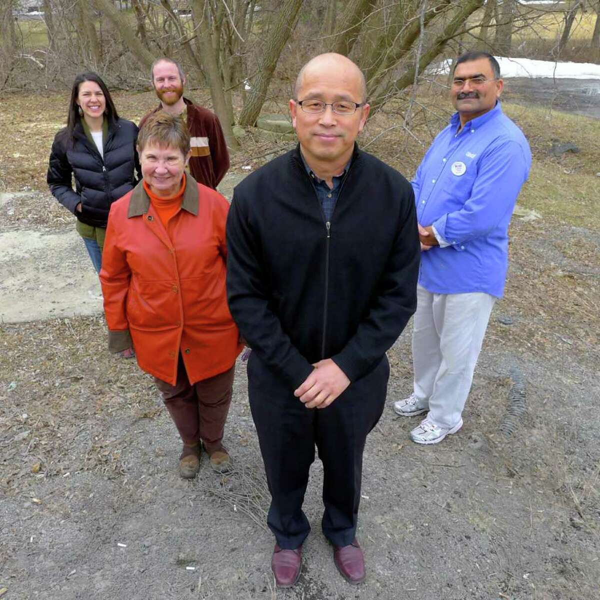 From left, Jessica and Ryan DuVal, Dianne Luci, Pastor Charlie Yang and Safder Ali members of a diversity panel members in Voorheesville Thursday March 31, 2011.( Michael P. Farrell/Times Union )