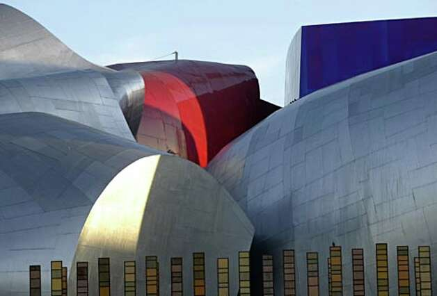 An exterior photograph of the Experience Music Project and Science Fiction Museum. (Mike Urban / Seattle P-I file photo) / Seattle Post-Intelligencer