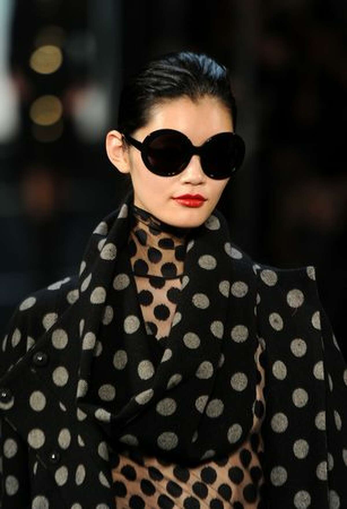 A model walks the runway at the Diane von Furstenberg Fall 2011 fashion show during Mercedes-Benz Fashion Week at The Theatre in New York City.