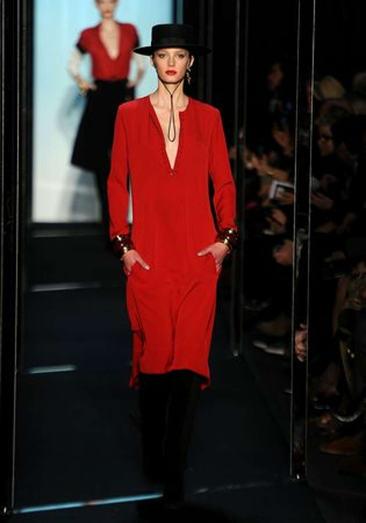 A model walks the runway at the Diane von Furstenberg Fall 2011 fashion show during Mercedes-Benz Fashion Week at The Theatre at Lincoln Center in New York City.