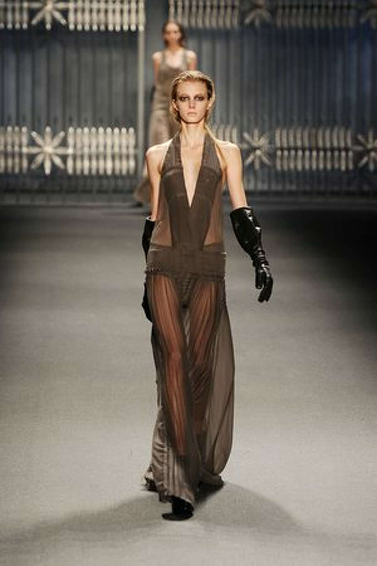 A model walks the runway at the Vera Wang Fall 2011 fashion show during Mercedes-Benz Fashion Week at The Stage at Lincoln Center in New York City.