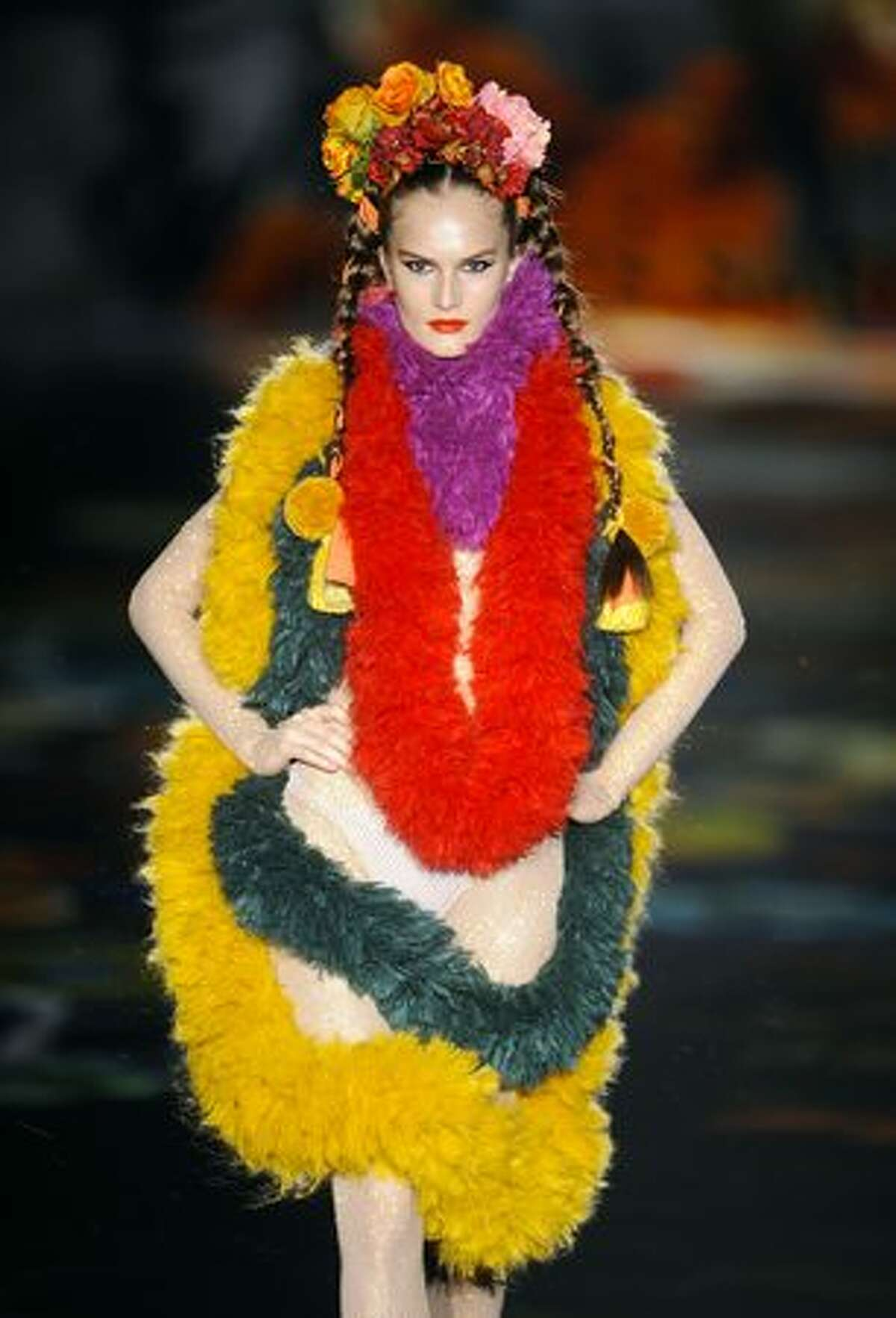 A model displays a creation by designer Andres Sarda during the Madrid Cibeles Fashion week in Madrid.