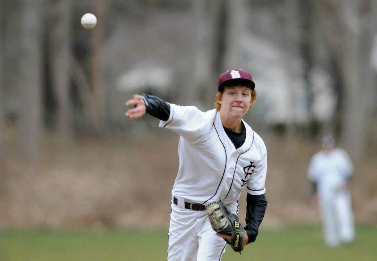 Garreth Fancher pitches as St. Luke's School hosts Hamden Hall Country Day School in boys varsity baseball in New Canaan, CT on Thursday, March 31, 2011.