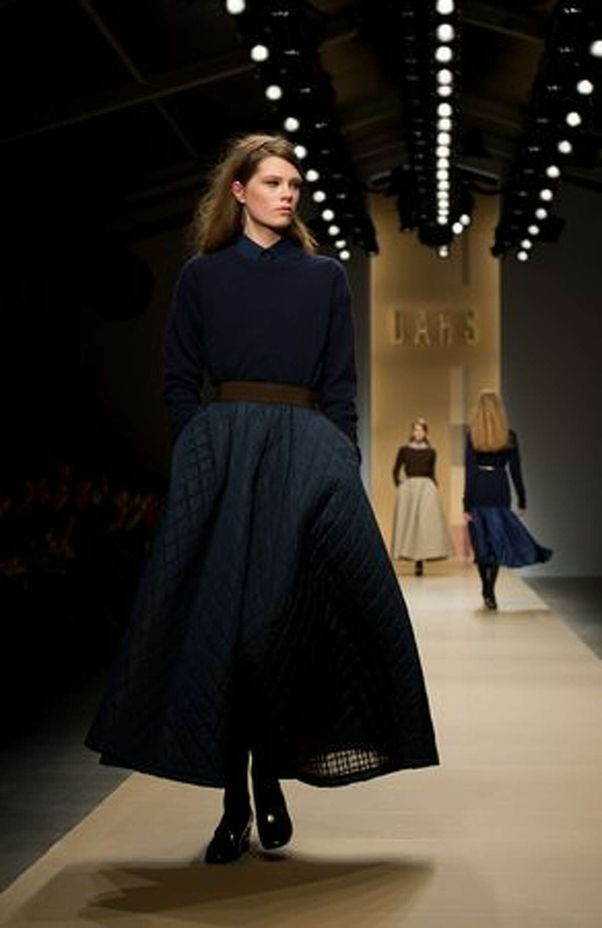 A model walks the runway at the DAKS show during London Fashion Week Autumn/Winter 2011 at Somerset House in London on Saturday, Feb. 19, 2011.