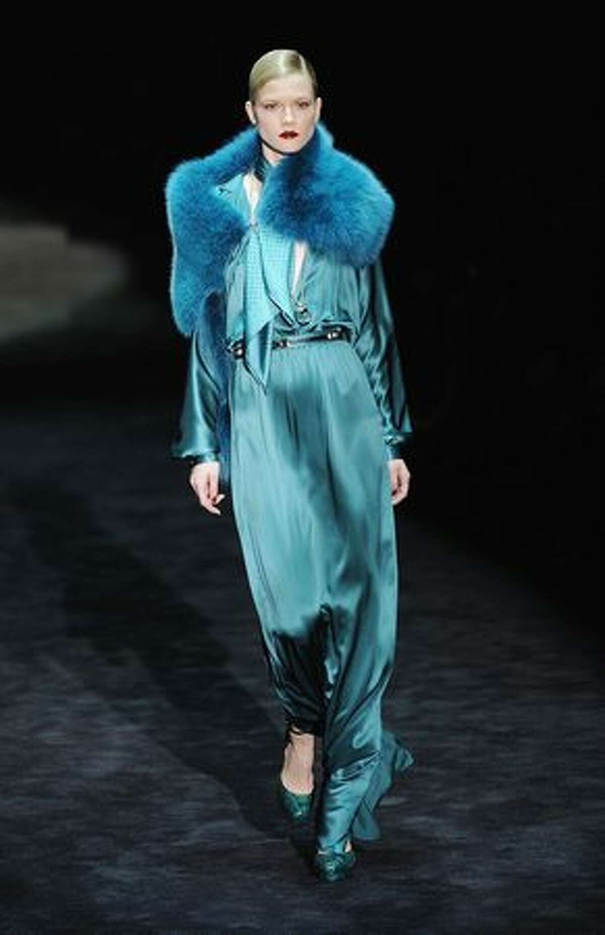 A model walks the runway during the Gucci Fashion Show as part of Milan Fashion Week Womenswear Autumn/Winter 2011on February 23, 2011 in Milan, Italy.