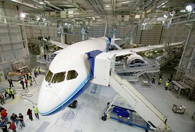Boeing's first 787 is shown on Thursday April 30, 2009 at the Boeing plant in Everett, Wash. (Joshua Trujillo / Seattle P-I)