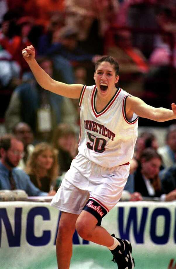 MINNEAPOLIS - APRIL 2:  University of Connecticut Huskies star center Rebecca Lobo exults as her team defeats the University of Tennessee Lady Vols to win the NCAA Womens Basketball Championship on April 2,1995 in Minneapolis, Michigan. Huskies won 70-64. University of Connecticut Huskies are the first to have a undefeated championship season in Womens Division 1 in college basketball history. (Photo by Matthew Stockman/Getty Images)  *** Local Caption *** Rebecca Lobo Photo: Matthew Stockman, Getty Images / 1995 Getty Images