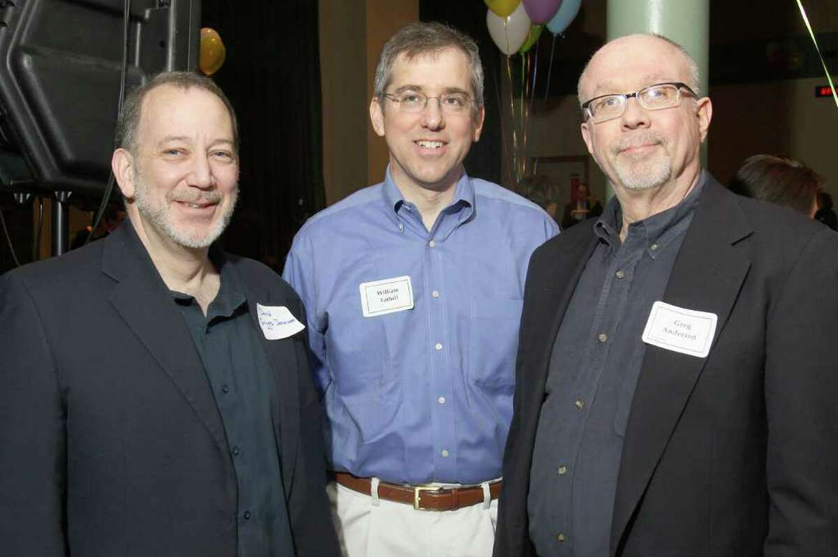 From left: David Griggs-Janower, Albany Pro Musica's artistic director and conductor; William Tuthill; and Greg Anderson, a board member of Troy Chromatic Concerts Inc. Albany, N.Y., at Music Mobile's 33rd Anniversary Celebration March 24, 2011. (Photo by Joe Putrock / Special to the Times Union)
