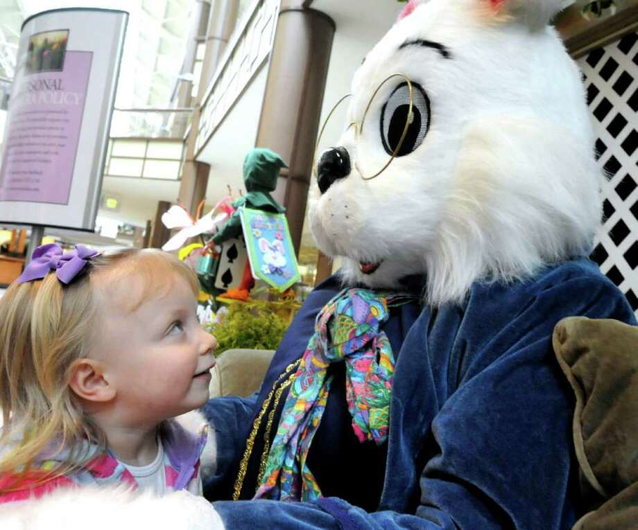 Easter Bunny in DanburyThe Easter Bunny is at the Danbury Fair Mall now through April 19. Visit the Easter Bunny for Photos and a Free Gift. The set is located near Macy's and Lord & Taylor. Photo: Michael Duffy / The News-Times