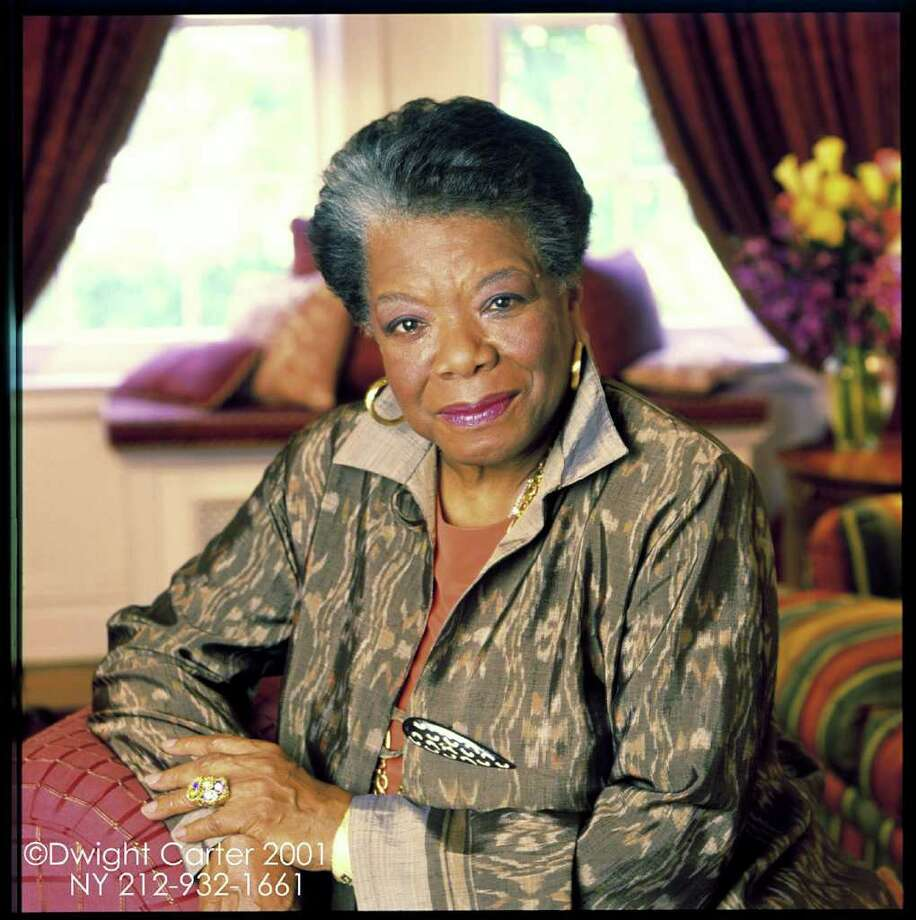 "Maya Angelou, shown here in 2001. Angelou, the author of ""I Know Why the Caged Bird Sings"" and ""Gather Together in My Name,"" will be the guest at Saturday evening's sold-out installment of ""Conversations on Courage & Faith"" at Christ Church Greenwich. (Photo by Dwight Carter) Photo: Contributed Photo / Greenwich Time Contributed"