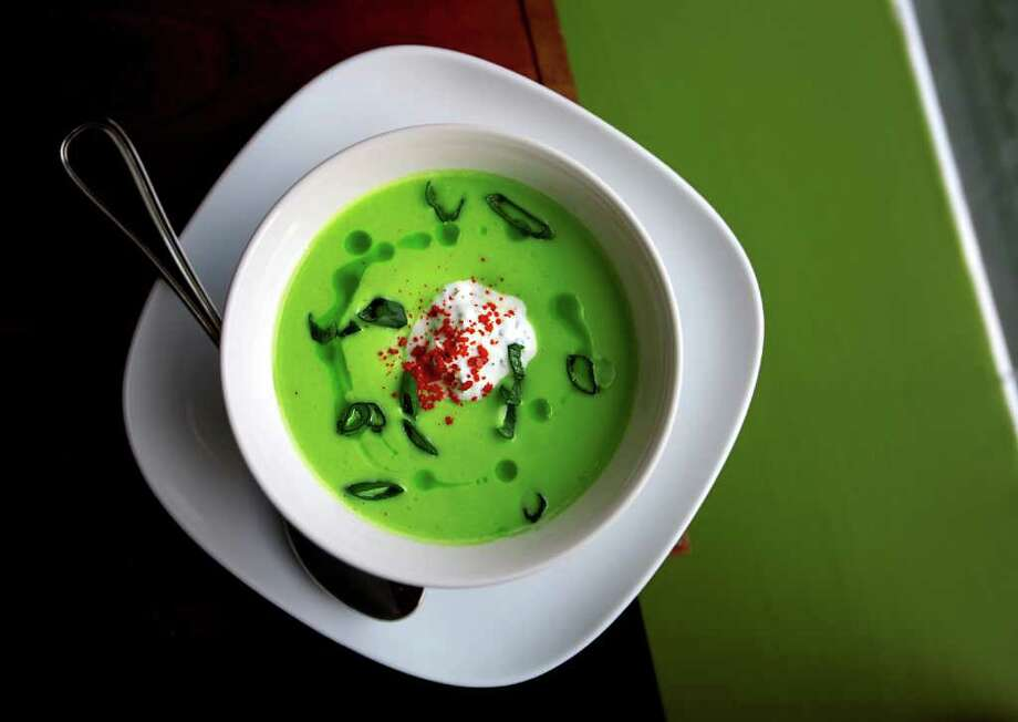 Still life of chilled avacado soup with basil-lemon yogurt at Art of the Table restaurant in Seattle, photographed for a restaurant review.Thursday May 29, 2008 